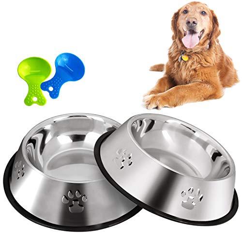 Legendog 2 Stück Edelstahl Hundenapf, rutschfeste Hundenäpfe/Futternapf und Hundenapf mit Löffel (26CM)