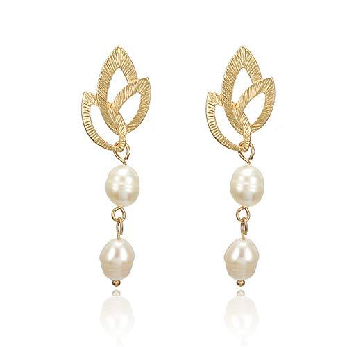 GDYX Pendiente Pendientes elegantes de oro vintage para mujer, joyería de bricolaje, joyería de perlas irregulares para bodas