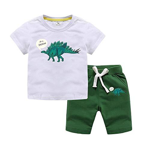 Moxing 2 Piezas Camiseta de Verano para Niños, Pantalones Cortos con Estampado de Dinosaurio, Ropa de Hogar de Algodón, Adecuado para Niños de 1 a 8 años White-140
