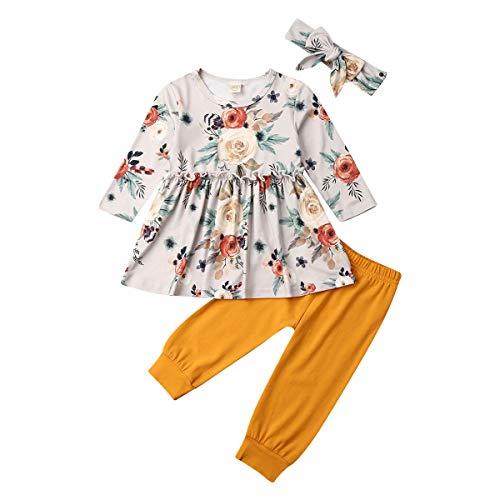 Qinngsha Kleinkind Baby Mädchen Kleidung Flare Sleeve Gelb Hirsch Hemd Top Rüschen Kleid + Sonnenblume Lange Hosen Leggings + Stirnband Outfit Set 3-teilig Gr. 92, gelb