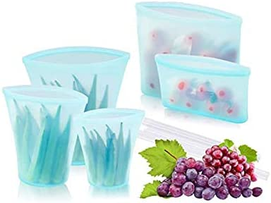 Reusable food silicone bag upgraded zipper lock top leak proof container 5PCS used for fruits product image