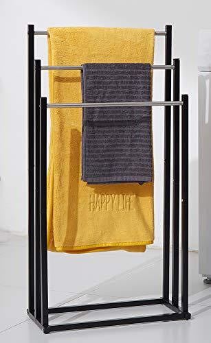 Standing Towel Rack, 3 Tier, Stainless Steel Tall Outdoor Pool Towel Drying Holder Freestanding for Bathroom Floor, Blanket Rack, Chrome & Black,