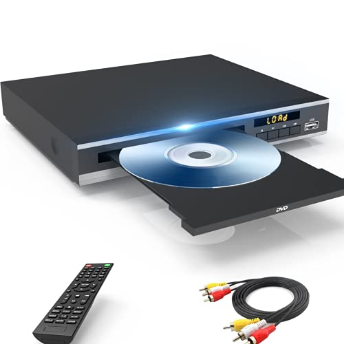 DVD Player for TV, Region Free DVD Players for CD/DVD's, Compact DVD Player Supports NTSC/PAL System with RCA Stable Outputs/USB 128G Input, Contains Remote Control and RCA Cable suitable for Any Tv's