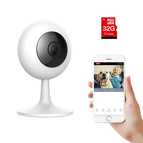 IMI Xiaomi Wireless WiFi Baby Camera Monitor HD1080P/720P Indoor Security Home Surveillance Smart Webcam 2-Way Audio Night Vision Pre-installed 32G Card Motion Detection iOS,Android App-Baby Pet Elder