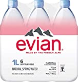 evian Natural Spring Water 1 Liter (Pack of 6), Naturally Filtered Spring Water, Naturally Filtered Spring Water in Large Bottles
