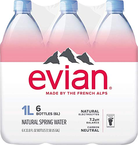evian Natural Spring Water 1 Liter (Pack of 6), Naturally Filtered Spring Water, Naturally Filtered Spring Water in Large Bottles