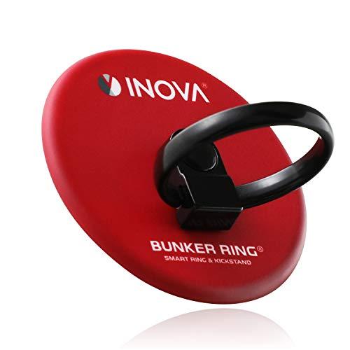 INOVA(イノバ) × BUNKER RING コラボデザイン 正規代理店品 スマホリング 360度回転 スマホ タブレット バンカーリング 丸型 レッド