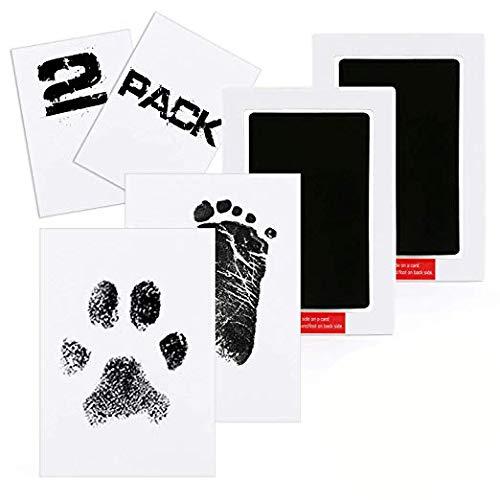 2pcs baby abdruck set,clean touch stempelkissen,Baby Handabdruck und Fußabdruck,Baby Fuß- oder Hand-Abdruck Set, Baby Handprint,Stempelkissen Babyhaut kommt nicht mit Farbe in Berührung (Schwarz)