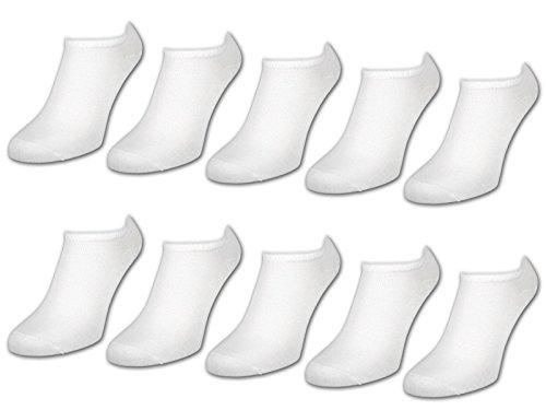10 bis 50 Paar Comfort Sneaker Socken Damen und Herren Schwarz und Weiß Baumwolle (40-46 Weiß   10 Paar)