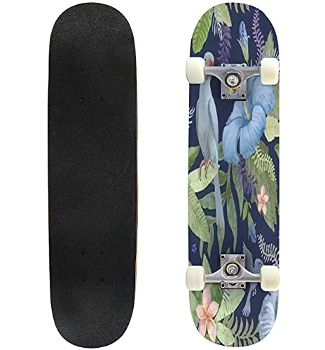 """Seamless Floral Pattern from Hand Drawn Watercolor Hibiscus and Skateboard 31""""x8"""" Double-Warped Skateboards Outdoor Street Sports Skateboard for Beginners Professionals Cool Adult Teen Gifts"""
