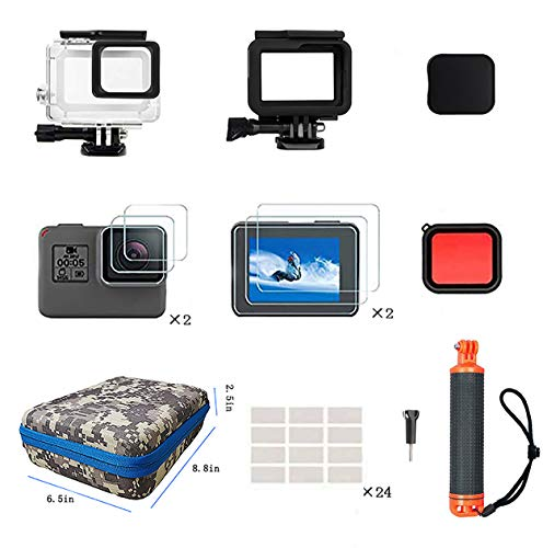 Kitspeed Accessories Kit for GoPro Hero7Black/6/5, Including Waterproof housing case,Red Filter,Tempered Glass Film,frame case shell,Lens Cap,Waterproof Floating Handle,Anti-Fog Inserts, Carrying Case