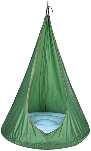 Kids Hammock Chair, Child Pod Swing Seat for Indoor and Outdoor, 70 x 150cm, Product load: 200kg (Color : Green)