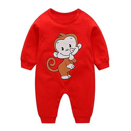 Livoral Overall-Overallkleidung des neugeborenen Babymädchens der Kinder langärmlige Karikaturoverall-Overall(D,0-3 Monate)