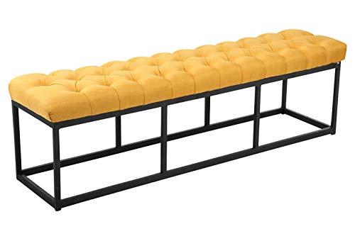 CLP Taburete Pie de Cama Amun en Tela | Banqueta Altura de Asiento: 46 cm I Banco Elegante para Salón con Base de Metal Negro I Color: Amarillo, 150 cm