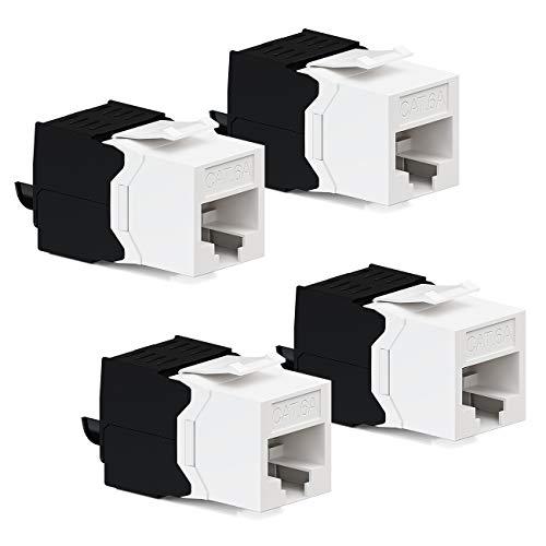 deleyCON 4X CAT6a Jack Keystone Módulo RJ45 - Conector RJ45 para Plástico LSA Montaje a Presión Cable Crudo Cat 500Mhz 10GBit/s
