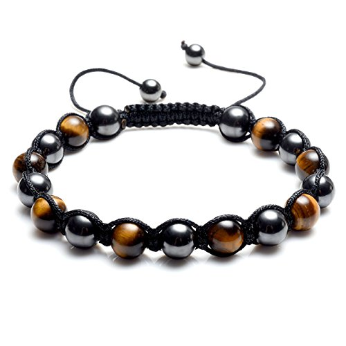 JSDDE Magnetic Therapy Bracelet W/Natural Yellow Tiger Eye Gemstone, Hematite Magnetic Bracelets for Women Men Pain Stress Relief Health Energy