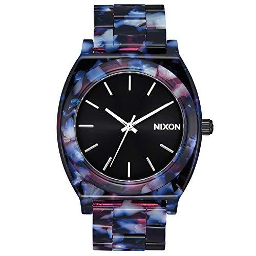 Nixon Time Teller Acetate Damenuhr Analog Quarz mit Acetat Armband Schwarz / Multi