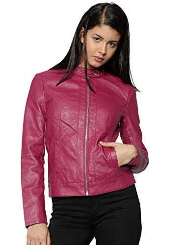 JDY Damen Jacke JDYDALLAS Faux Leather Jacket OTW NOOS, Violett (Red Plum), 40