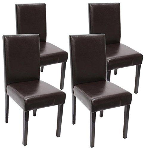 Mendler 4X Esszimmerstuhl Stuhl Küchenstuhl Littau ~ Leder, braun dunkle Beine