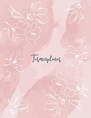 Terminplaner: Kosmetikstudio & Nagelstudio DATEN Kalender | 8AM - 8PM Friseur Salon Terminbuch | Mon - Son Beauty Tageskalender | Inkl. Kundenbuch | Pink White Flowers