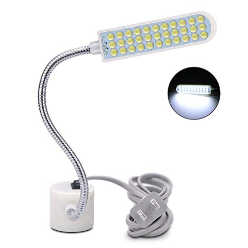 harmiey Sewing Machine Light (36LED) Gooseneck Work Light with Magnetic Mounting Base, White Soft Light for Lathes, Drill Presses, Workbenches