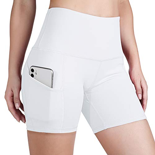 ODODOS Women's Out Pockets High Waisted Workout 5' Shorts, Yoga Athletic Cycling Hiking Sports Shorts,White,Large