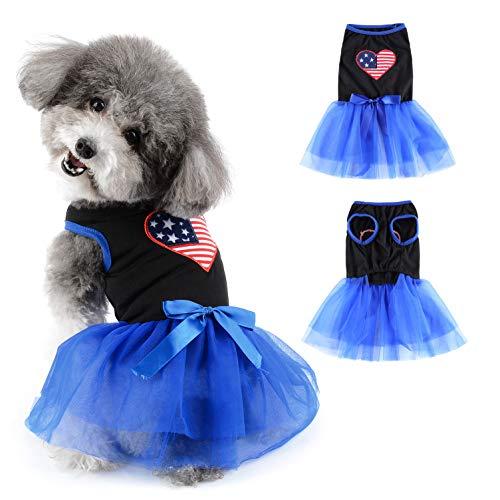 Ranphy - Vestido para perro pequeo, diseo patritico de Estados Unidos, princesa, tut, cinta para cachorros, vestido de encaje, gasa, perrito, sin mangas, para fiestas, bodas, ropa para mascotas