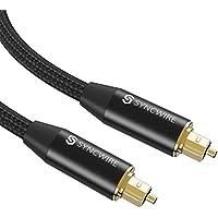 Cable Óptico – Syncwire 2M Audio Óptico Flexible de Puerto Toslink con Tejido de nylon y Conectores Recubiertos con Oro de 24 Quilates para la Soundbar, TVs, PS4, X-Box, DVD/CD, Home Theater y más