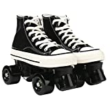 Women's Roller Skates Adult Classic High Top Canvas Roller Skates Double Row Light Up Skates Four-Wheel Shiny Roller Skates Perfect Indoor Outdoor, with Bag (Blacke Without Light,42)