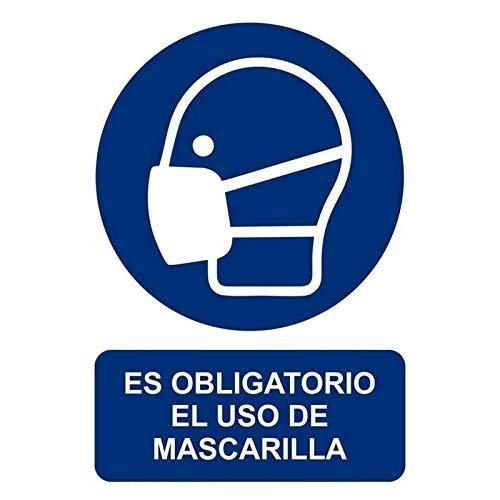 Normaluz RD26626 - Señal Adhesiva Es Obligatorio El Uso de Mascarilla Adhesivo de Vinilo 10x15 cm ⭐
