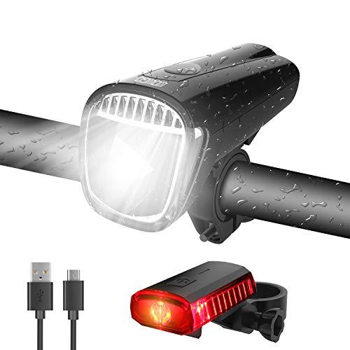 WOWGO LED Fahrradlicht, StVZO Zugelassen Fahrradlicht Set USB Wiederaufladbare Fahrradbeleuchtung Wasserdicht Fahrradlampe Set mit 3 Licht-Modi, Frontlicht und Rücklicht