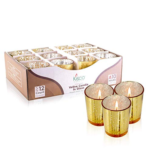 KISCO CANDLES: 10 Hour Votive Candles with Holders Gold Decorative Glass Home Decor, Beautiful Living Room, Kitchen, Bathroom Lighting | Long-Lasting Wax | 12-Pack
