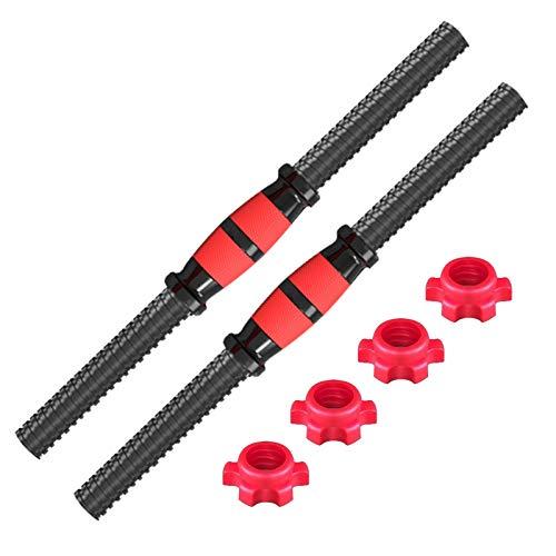 Barra corta para mancuernas, 1 par de barras de entrenamiento de fuerza, 28 – 30 mm, orificio Dumbbell, barra de dominadas con superficie de agarre antideslizante, soporta hasta 50 kg (rojo)