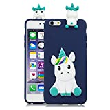 LAXIN Blue Unicorn Case for iPhone 6,Cute 3D Cartoon Animal Cover,Kids Girls Soft Cool Silicone Gel Rubber Kawaii Character Fashion Unique Fun Shockproof Protector Shell for iPhone 6s