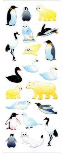 【10枚セット】ラメ入りシール 冬の動物 BZR098【ご注文1回につき1個 サン・クロレラ サンプルプレゼント!】