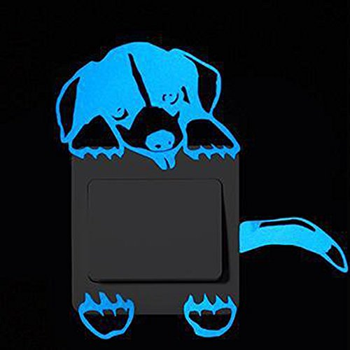 Meclelin Leuchtaufkleber Cartoon Katze für Lichtschalter oder Steckdose/Fluoreszierend und im Dunkeln Leuchtend (F)