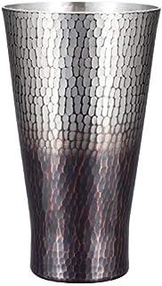 新光金属 タンブラー 錫 黒被仕上げ 大500ml 純銅錫 黒被仕上げ 手打ち鎚目タンブラー BR-203SB