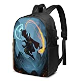 IUBBKI Bolsa para computadora mochila USB Men Women Packable Backpack with USB Charging Port, Water Resistant convertible Work Bag, Book Bags Daypack for Outdoor Gym Work, Avatar The Last Airbender An