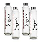 BrandPrint, Set di 4 Bottiglie in Vetro per Acqua Frizzante Modello Eos 750 ml con Tappo a...