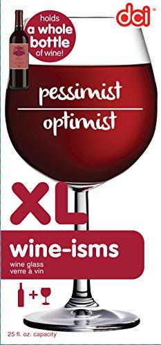 DCI XL Weinglas, einzigartiges Weinglas für eine ganze Flasche Wein XL Pessimist/Optimist farblos