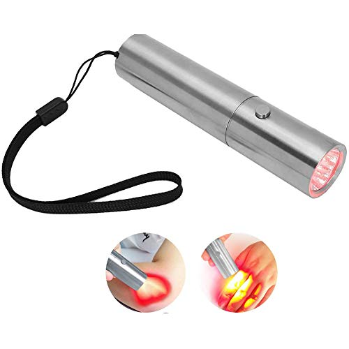 LED Red Light Therapy Device with 3 LEDs Pain Relief Skin Rejuvenation Anti‑Wrinkle Handheld Red Light Therapy Device for Joint and Muscle Pain,Silver