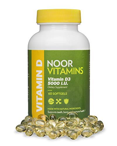 NoorVitamins Vitamin D3 5000 IU Softgels I Supports Bone, Immune, Heart & Mood Health I Pure Vitamin D From Safflower Oil To Maximize Absorption I All Natural, Non-GMO, Gluten Free & Halal (60 count)