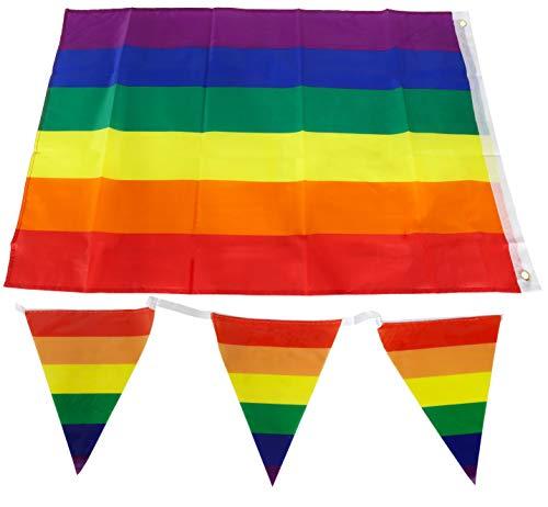 Toyland® 1 x Regenboog Trots Vlag Op Stok & 1 x Vlaggedoek Decoratie Pak - Feestdecoraties