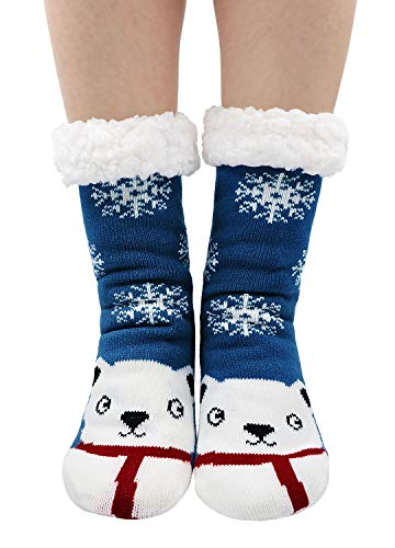 PUTUO Chaussettes Chaussons Femme Hiver Chaud Antidérapantes Thermique Pantoufles Chaussettes, Femme Noël Épais Chaussettes à la Maison,36/41 EU,Ours Bleu