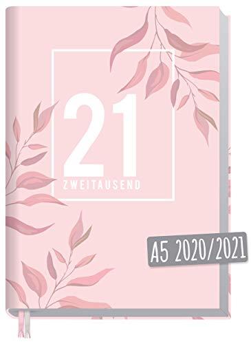 Chäff-Timer Classic A5 Kalender 2020/2021 [Pink Leaves] Terminplaner 18 Monate: Juli 2020 bis Dez. 2021 | Wochenkalender, Organizer, Terminkalender mit Wochenplaner - nachhaltig & klimaneutral
