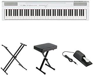 Yamaha P125 Digital Piano Bundle with X Stand, Bench and Sustain Pedal, White