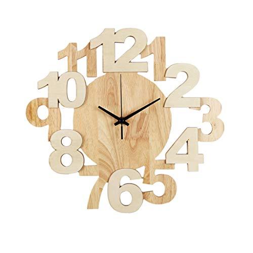 Wohnaccessoires-QFF Massivholz-Wanduhr, Personalisierte Wanduhr Kreative Arabisch Digital Wall Clock Aluminium Zeiger Wanduhr Familiennutzung (Size : 37 * 34cm)