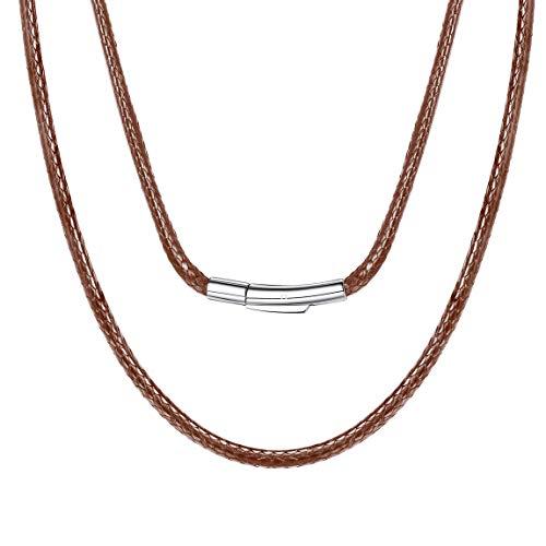 ChainsPro Cadena Fina 3mm Cordones Cuero Castaño Collar Piel Verdadero Collar Alambre Simple para Cuello 61cm Largo para Hombres Mujeres Joyería Moderna