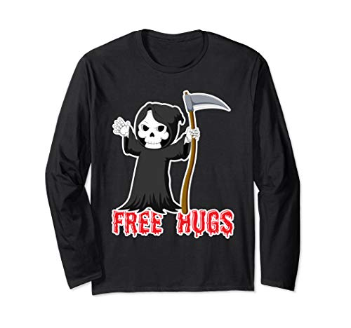 Funny Halloween Kawaii Chibi Grim Reaper Death Long Sleeve T-Shirt