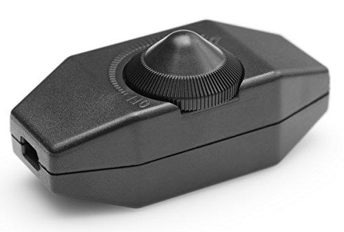 LED Dimmer, 1-60 Watt stufenlos dimmen (Schnurdimmer Drehdimmer) dimmbare LED, Ein-Aus, 220-230V, CE In-Line Dimmschalter, Zwischendimmer ab 1 Watt, Schwarz, Geräuschlos, Buchenbusch Urban Design